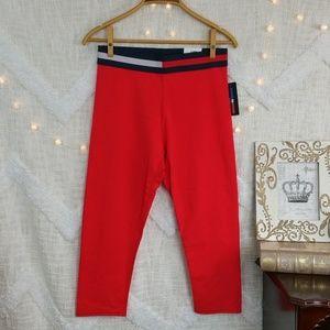 Tommy Hilfiger red capri crop active leggings